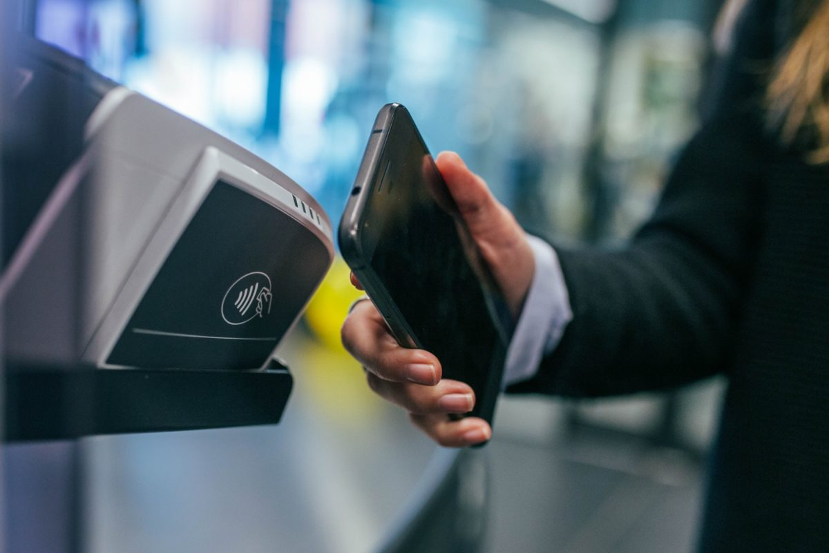 Smartphone payment being made